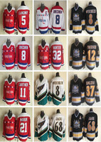 Camisa Alex Ovechkin Jerseys Vintage Washington Capitals 37 Kölzig 12 Jeff Friesen 68 Jaromir Jagr 5 Langway 21 Maruk 32 Hunter CCM Hockey