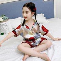 pijama çocuk Prenses bebek Buz İpek elbise Kız Ev ince yaz klima giysi