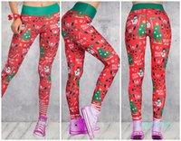 toptan-Kadın Noel 3D Baskılı Karikatür Tozluklar Kız Sıkı sıska Elastik Tozluklar Spor Noel Pantolon Spor Yoga Pantolon Pantolon