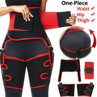 النساء النيوبرين عالية الخصر المدرب المشكل الجسم عرق Shapewear قابل للتعديل حزام سليم المتقلب الساق تنحيف الخصر والفخذ المدرب CX200724