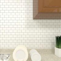 Mosaico de mármol y palillo de la pared Azulejo autoadhesivo Backsplash Bricolaje DIY Cocina Baño Hogar Calcomanía de la pared Pegatina brillante Vinilo 3D