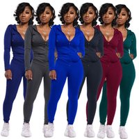 Womens two piece set Tracksuit outfits long sleeve leggings ...