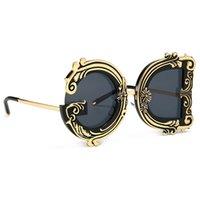 TTLIFE 2020 unregelmäßige geometrische Jahrgang Barock Sonnenbrille Frauen Blumenmuster in Über Rahmen Gradient UV400 Partei Brill