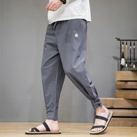 Cotton Linen Casual Harem Pants Men Joggers Man Summer Trous...