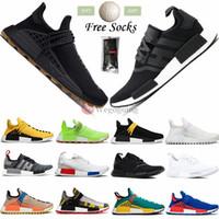 Avec Chaussettes libres boule NMD R1 Formateurs Human Race Chaussures de course Pharrell Williams HU Blanc Noir Jaune Rouge gris des femmes des hommes de sport Chaussures de sport