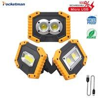 Lanternas portáteis 30 W COB LED lâmpada de trabalho lâmpada à prova d 'água 3-modo de emergência de emergência recarregável caramba 18650