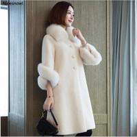 Haute Qualité Hiver Femmes Manteau couleur pure en fausse fourrure Colliers Femme Manteaux Cachemire Manteaux en peau de mouton Plus Size