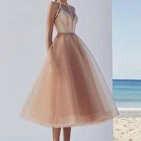우아한 샴페인 오간자 A 라인 댄스 파티 드레스 차 길이 짧은 여자 동창회 드레스 특별 행사 드레스 이브닝 가운
