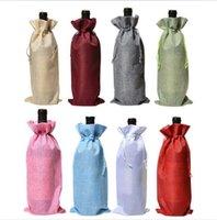 عشاء حقائب النبيذ الجوت زجاجة النبيذ الحقائب متعدد الألوان الشمبانيا زجاجة الرباط حقيبة الزفاف الجدول ديكور الخيش هدية حقيبة حزمة حقيبة ALSK324