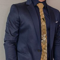Or Hexagon cravate élégant Hommes Skinny Neckties Luxe style Hommes Coffret Cadeau Accessoires Robe de cérémonie de mariage conception unique