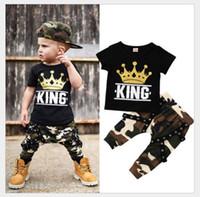 새로운 도착 아기 소년 여름 의류 키즈 반팔 T 셔츠 + 카모 바지 2 개 세트 세트 소년 의상 어린이 정장 70~130cm 0-5Years