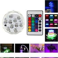 10 LED غاطسة شمعة مصباح التحكم عن بعد RGB الأزهار زهرية قاعدة أضواء LED للماء لحضور حفل زفاف حفلة عيد الميلاد الديكور