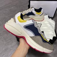 Für Männer Frauen Rhyton Sneaker Top Kalbsleder-Turnschuhe Rosa Beige Reflective-Gewebe-Spitze-up-Trainer-Plattform-Schuhe mit Box EU35-45 Top-Qualität