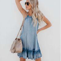 Bayan Elbise Yaz Bayan Moda Denim Elbise Sundress Genel Elbise Vintage Rahat Seksi Bodycon Halter Jeans
