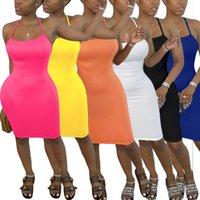 여성 슬림 드레스 고체 여름 컬러 크로스 숄더 스트랩 야외 스커트 클럽 섹시한 슬링 드레스 민소매 우아한 미니 엉덩이 스커트 Ty888 인쇄하기