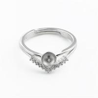 HOPEARL Sieraden Ring-instellingen Blank 925 Sterling Zilver Driehoek zoals een Crown Pearl Rings Mount 3 stuks