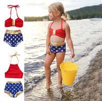 الولايات المتحدة طفل رضيع الفتيات الرسن بيكيني مجموعة نجوم ملابس السباحة المايوه راد وذهبية البدلة