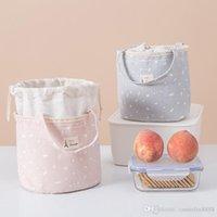 Mignon main sac de transport de boîte à lunch endroit pratique dames sac pique-nique sac de glace isolation feuille d'aluminium étanche chaleur cylindre conservation Sac canva