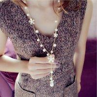 Роскошные Ромашки Camellia Имитация жемчуга Длинные бисером ожерелье Чистовая свитер цепи ps1372 Choker себе ожерелье