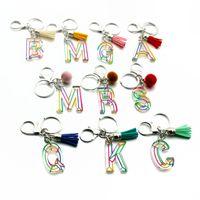 초기 편지 Keychains 가죽 술 자동차 키 링 링 홀더 여성 열쇠 고리 액세서리 패션 개인화 z 알파벳 가방 매력