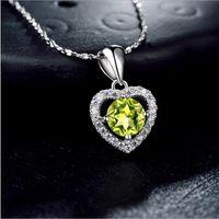 Valentine's day gifts top quality SS925 sterling silver pendants S925 pendant semi-precious gemstone peridot women's silver neckla A13