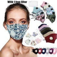 Doek katoen ontwerper gezichtsmasker bedrukte gewone gezichtsmaskers met ademhalingskleppen zijn stofdicht en smog-proof, comfortabel en ademend