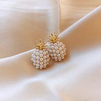Nueva llegada de la joyería geométrica Perla Mujeres camiseta clásica Pendientes de piña Mujer pendientes de perlas pendientes de las mujeres de moda