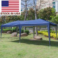 Пляжная вечеринка Палатка тень Pergola 3 x 6M Дом Использование Открытый кемпинг Водонепроницаемые складные палатки с сумкой для переноски Синий стильный портативный тент