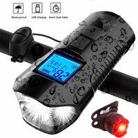 Luz de bicicleta USB recarregável Mountain Bike Luz Speed Meter tela LCD cauda chifre lanterna LED de bicicleta Front Light Farol T200718