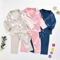 80-130 Kinder Kinder Seide Pyjamas Jungen Mädchen Kleinkind Langarm Rock Top + Hosen Nachtwäsche Seidenkomfort Nachtwäsche Kinder Home Kleidung LY7292