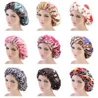 Nova Camada Dupla Flor Imprimir Satin Noite Hat Mulheres Head Cover sono Caps Bonnet Cabelo Acessórios de Moda Cuidado