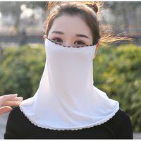 Mulheres Véu Cachecol Chiffon Sunscreen Neck rosto magro Máscara Ice Silk Máscara Orelha Collar equitação respirável Máscara Areia Rosto Proof Towel LJJP268