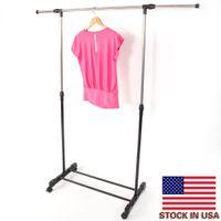 Stockages intégrés racks à barre verticale verticale d'étirement d'étirement horizontal porte-vêtements avec étagère de chaussure YJ-02 noir argent