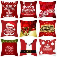 Père Noël Taie 45 * 45cm Merry Christmas Series Snowman Santa Bells Elk Taie d'oreiller de Noël Accueil Hôtel Sofa Décor