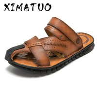 Summer Sandals Men Breathable Beach Genuine Leather Sandals ...