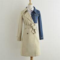 패치 워크 데님 여성 트렌치 코트 더블 브레스트 옷깃 긴 트렌치 코트 패션 느슨한 레이디 높은 품질 윈드 2020 가을