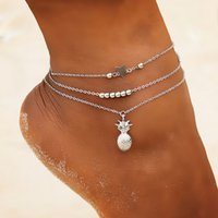 Boho Ankle Chain Pineapple Star Pendant Anklet Beaded 2020 Summer Beach Foot Jewelry Fashion Style Anklets for Women