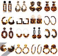 Vendita calda con stampa leopardata acrilico geometrica Cerchio Quadrato lunghi orecchini di goccia dichiarazione di moda dell'orecchio dell'orecchino della vite prigioniera per le donne