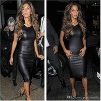 Giyim Kadın Tasarımcısı Giyim Elbise Yaz Siyah 20SS Sahte Deri Tasarım BODYCON Elbiseler Casual Dudaklar Sonbahar