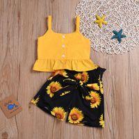 예쁜 공주 의류 여름 시원한 아이 여자 옷 세트 2 개 유아 조끼 고체 셔링 꽃 나비 스커트 상판 2-6T