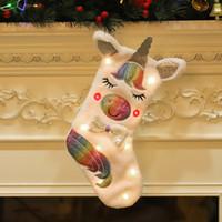 Chaussettes de Noël stockage licorne avec chaussettes lumineuses sac cadeau Sac de Noël décoration de Noël Candy Sac de rangement Sac Fournitures en gros