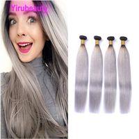 Virgin del brasiliano di estensioni dei capelli umani 1B / Grigio Etero 4 Bundles 1b Grey Ombre di due toni di colore Silky 10-24inch diritta