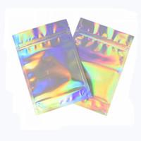 100 unids resalable olor bolsas a prueba de bolsas bolsa bolsa plana láser color bolsa de embalaje para fiesta favor alimento almacenamiento holográfico color