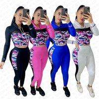 İlkbahar Sonbahar Kadınlar 2 Adet Kıyafetler Tasarımcı Kamuflaj Mesh Patchwork Kapşonlu Crop Pantolon Tayt Takım Elbise Moda Spor Eşofman D72811