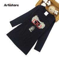 Vestidos da menina Artishare meninas primavera outono dos desenhos animados adolescente vestido de festa para 6 8 10 anos de roupa de crianças