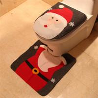 Papai Noel decoração do banheiro Capa do boneco de neve dos cervos Covers assento do toalete Atacado escovado pano de Natal da tampa do partido do festival Decoração