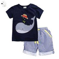 BINIDUCKLING Yaz Çocuk Çocuk Giyim Erkek Bebek Giyim Seti Bebek Boys Giyim Seti Pamuk t-shirt Boy için + Şort Giyim