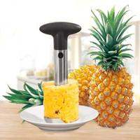 Ananas en acier inoxydable Peeler fruits carottier Slicer Peeler tige couteau Remover Cutter outil de cuisine d'ananas avec le paquet opp