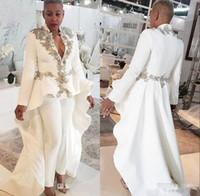 Moderne blanc Femmes Tenues Prom Dresess perlé à manches longues col en V profond robe de bal avec overskirts balayage train fête officielle Robes
