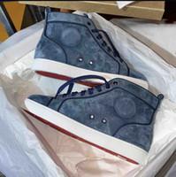 sapatos Spikes Flats da moda High Top homens azuis camurça vermelha sapatos de fundo para os amantes das mulheres dos homens de partido Sneakers couro genuíno com Box